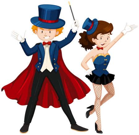 hombre con sombrero: Mago y su ayudante en la ilustraci�n de traje azul