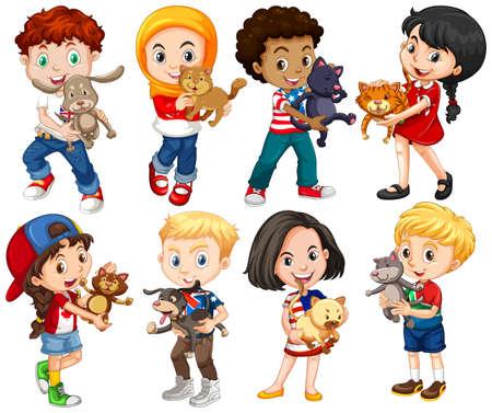 Los niños y niñas con sus mascotas ilustración