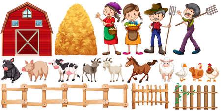 granja: Los agricultores y los animales de granja ilustración