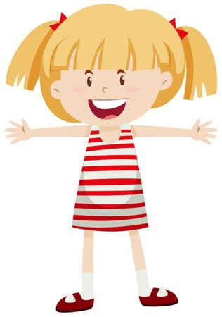 skirt: Little girl with pigtails  illustration