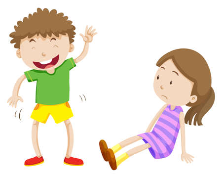 little girl sitting: Sad girl and happy boy illustration