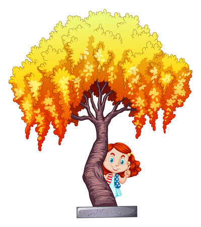ethnicity happy: Little girl under the willow tree illustration Illustration
