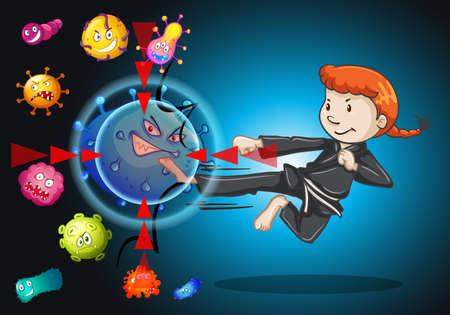 illness: Girl fighting with bacteria illustration