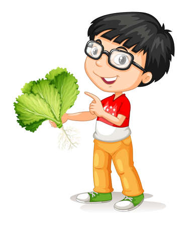 fresh vegetable: Little boy holding fresh vegetable illustration Illustration