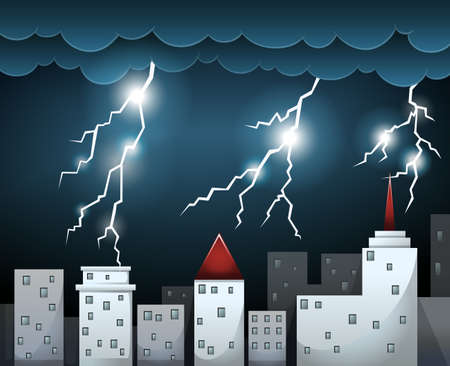 dark clouds: Thunderstorm and dark clouds over city illustration