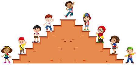 staircase: Children standing on the stairs illustration