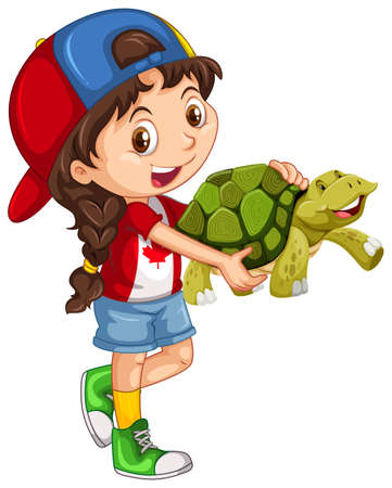 ethnicity happy: Little girl and green turtle illustration