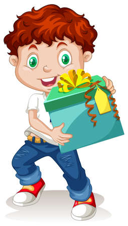 young boy smiling: Little boy holding a gift box illustration