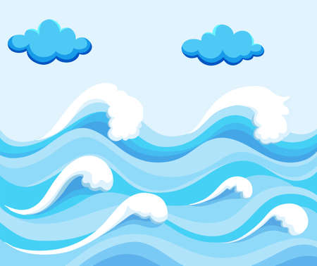 ocean background: Nature scene with big waves in the ocean illustration Illustration
