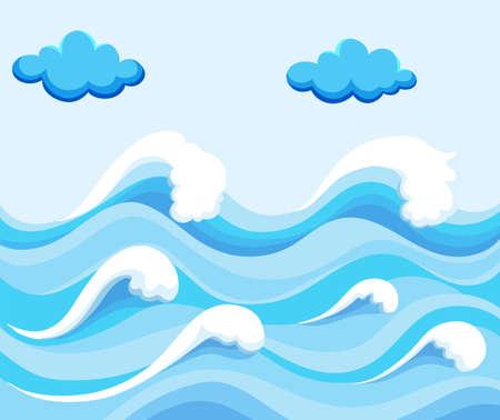 big waves: Nature scene with big waves in the ocean illustration Illustration