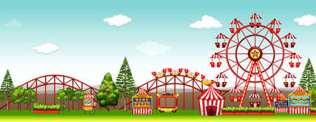 amusement park rides: Amusement park at day time illustration