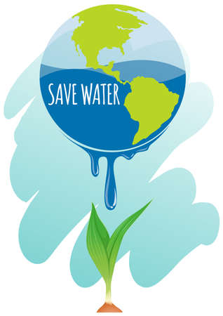 greenhouse effect: Save water theme with earth and plant illustration
