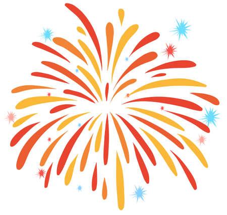 exploded: Close up firework on white illustration Illustration
