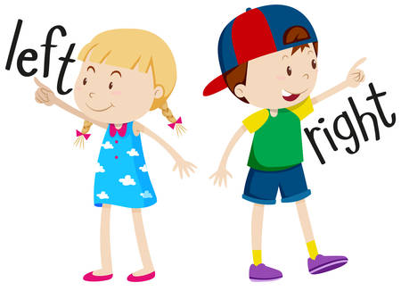 adjective: Girl on the left and boy on the right illustration