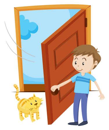 Man open the door for pet cat illustration