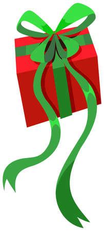 square image: Present box with green ribbon illustration
