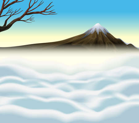 mist: Nature scene with volcano and mist illustration Illustration