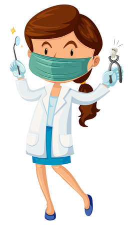 Female dentist with tooth and tools illustration