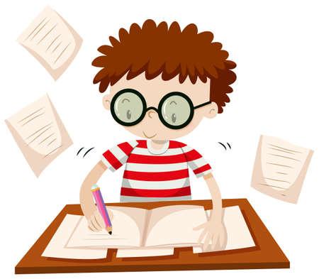 schoolwork: Boy writing on the table illustration Illustration