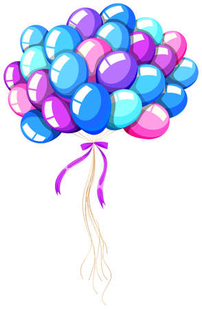 helium: Helium balloons tied with ribbon illustration