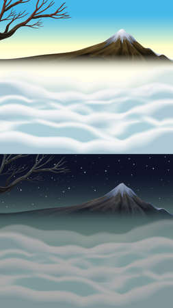 fog: Nature scene with mountain and fog illustration