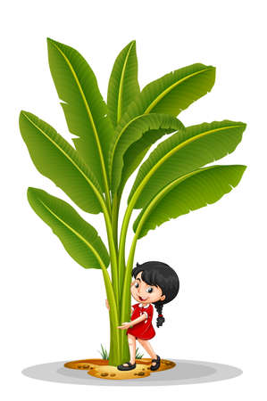 tree planting: Little girl and banana tree illustration