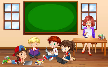 drawing table: Children doing groupwork in classroom illustration Illustration