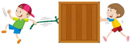 niño empujando: Dos muchachos que se mueven caja de madera ilustración