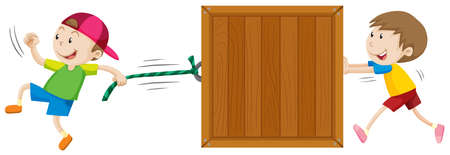 background box: Two boys moving wooden box illustration