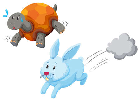Turtle and rabbit racing illustration