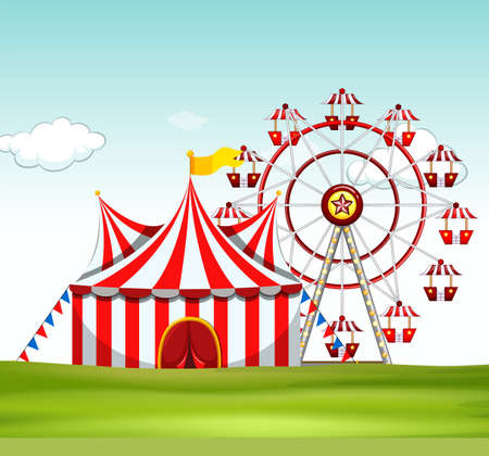amusement park rides: Circus tent and ferris wheel on the ground illustration Illustration