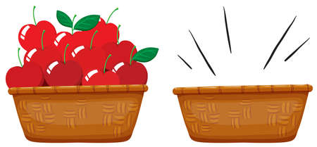baskets: Empty basket and basket full of apples illustration