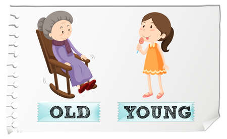 whie: Opposite adjectives old and young illustration
