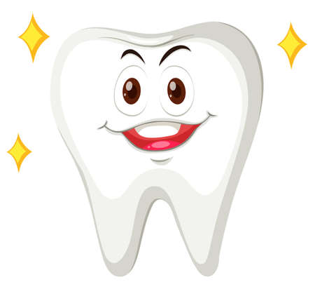 the human face: Human tooth with happy face illustration