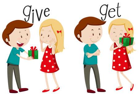 dar un regalo: Entrega Niño y niña conseguir ilustración