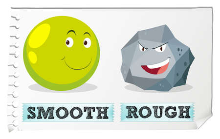 Opposite adjectives with smooth and rough illustration Vectores