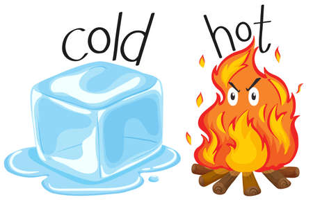 adjective: Cold icecube and hot fire illustration
