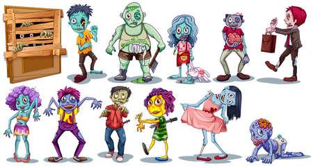 muerte: carácter diferente de zombies ilustración Vectores