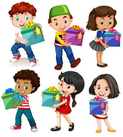 happy children: Boys and girls with present boxes illustration