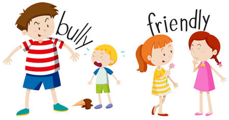 young boy smiling: Bully boy and friendly girl illustration Illustration