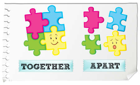 opposites: Opposite adjective together and apart illustration