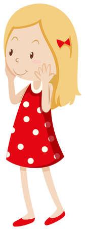 Little girl being shy illustration Illustration