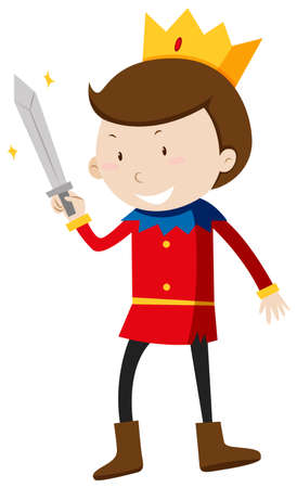 fantacy: Prince with a sharp sword illustration