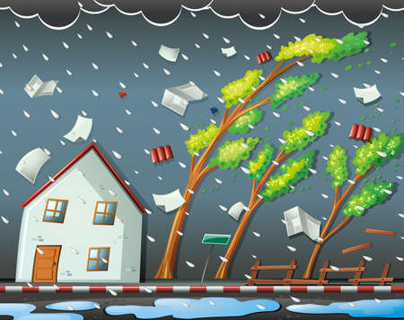 strong wind: Natural disaster scene with hurricane illustration