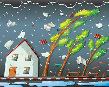 Natuurramp scène met orkaan illustratie