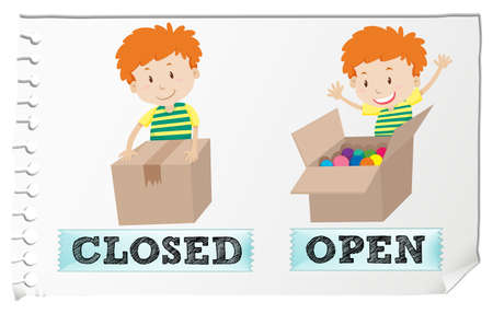 opposite: Opposite adjectives closed and open illustration Illustration