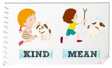 chasing: Opposite adjectives kind and mean illustration Illustration