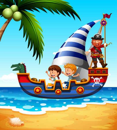 barco caricatura: Niños en el barco pirata con la ilustración Vectores