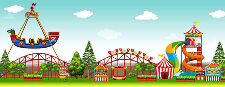 Pretpark scene met attracties illustratie Stock Illustratie