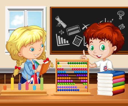 niños estudiando: Los niños que trabajan en la ilustración aula